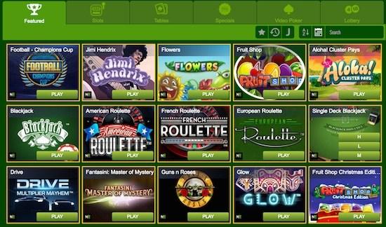 overzicht van alle casino spellen